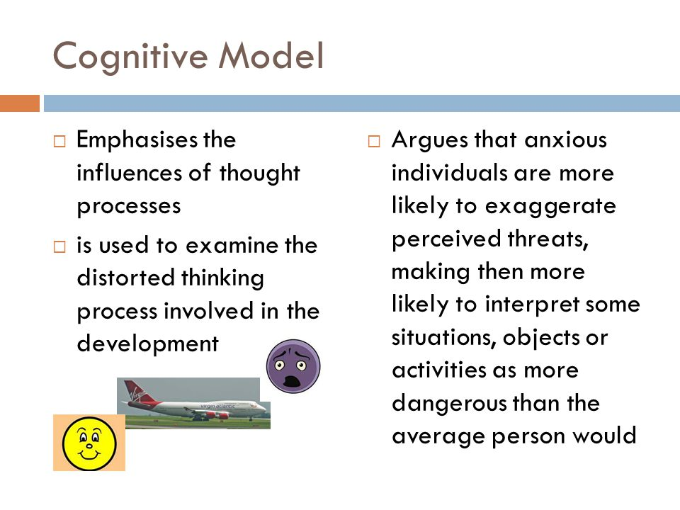 Cognitive Model Emphasises the influences of thought processes
