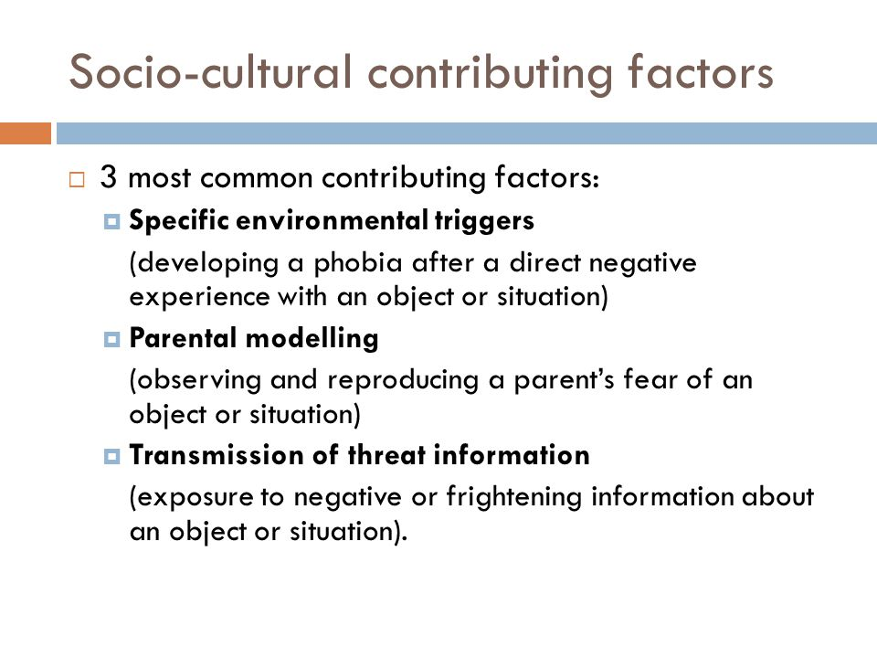 Socio-cultural contributing factors