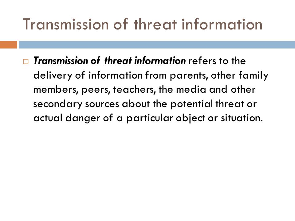 Transmission of threat information