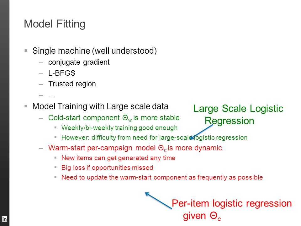 Model Fitting Large Scale Logistic Regression