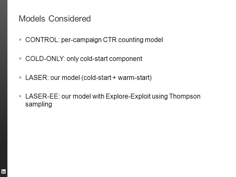 Models Considered CONTROL: per-campaign CTR counting model