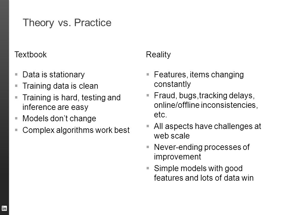 Theory vs. Practice Textbook Reality Data is stationary