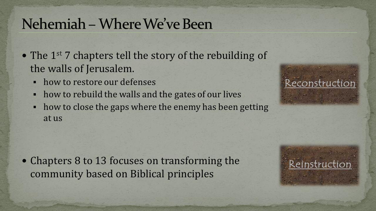 Nehemiah – Where We've Been