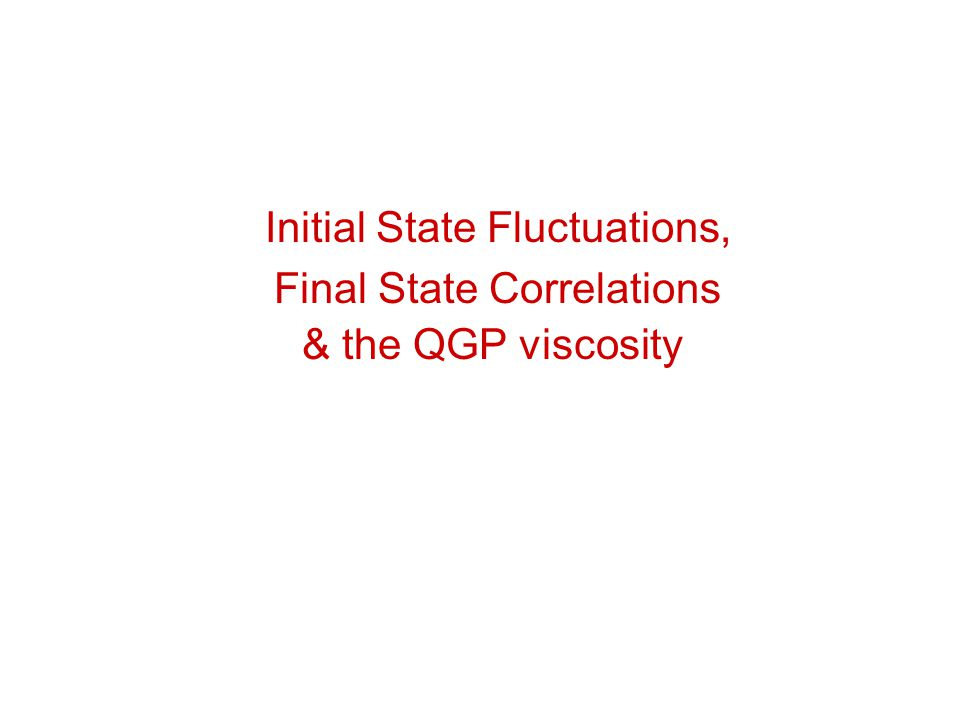 Initial State Fluctuations, Final State Correlations