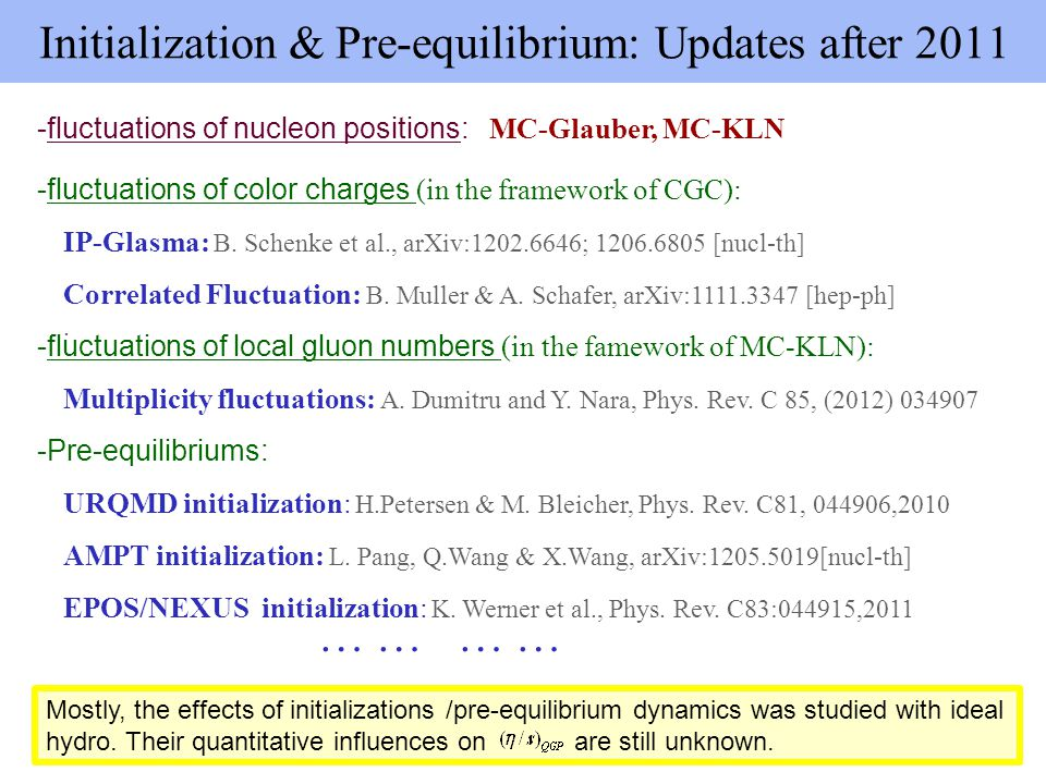 Initialization & Pre-equilibrium: Updates after 2011