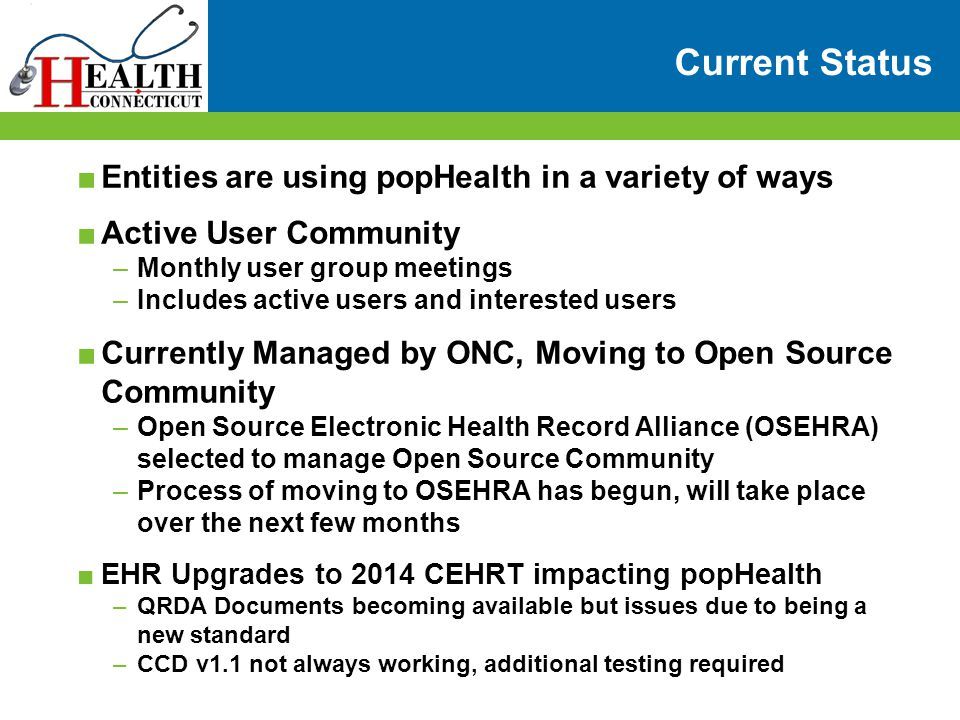 Current Status Entities are using popHealth in a variety of ways