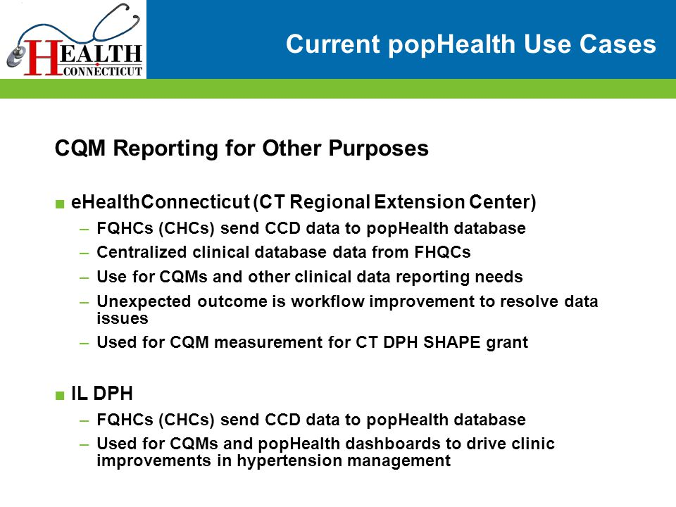 Current popHealth Use Cases