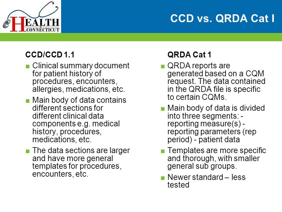 CCD vs. QRDA Cat I CCD/CCD 1.1