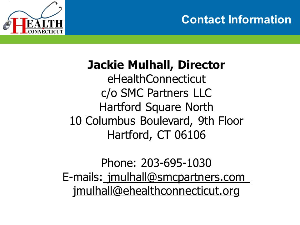 Jackie Mulhall, Director eHealthConnecticut