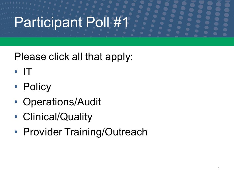 Participant Poll #1 Please click all that apply: IT Policy