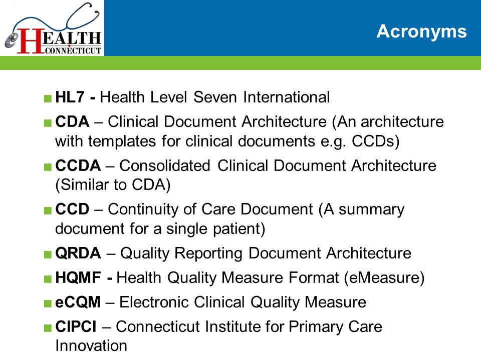 Acronyms HL7 - Health Level Seven International