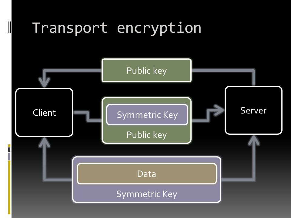Transport encryption Public key Server Client Symmetric Key Public key