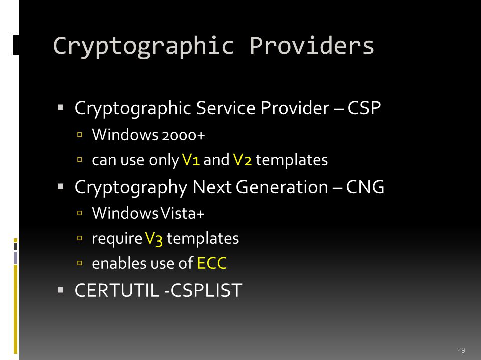 Cryptographic Providers