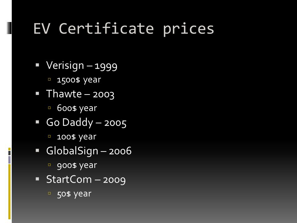 EV Certificate prices Verisign – 1999 Thawte – 2003 Go Daddy – 2005