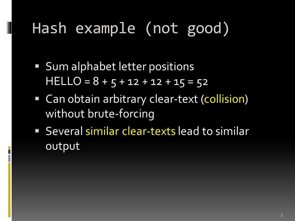Hash example (not good)