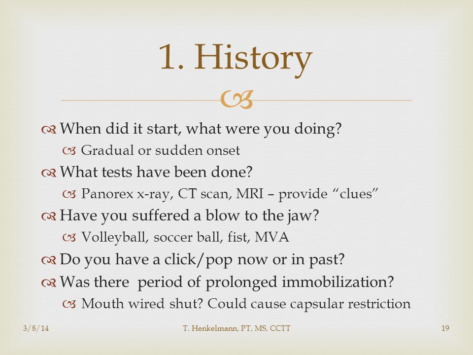 1. History When did it start, what were you doing