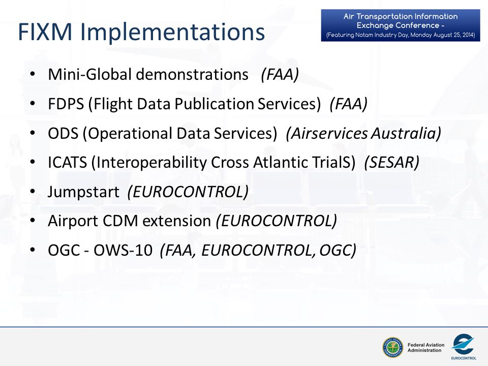 FIXM Implementations Mini-Global demonstrations (FAA)