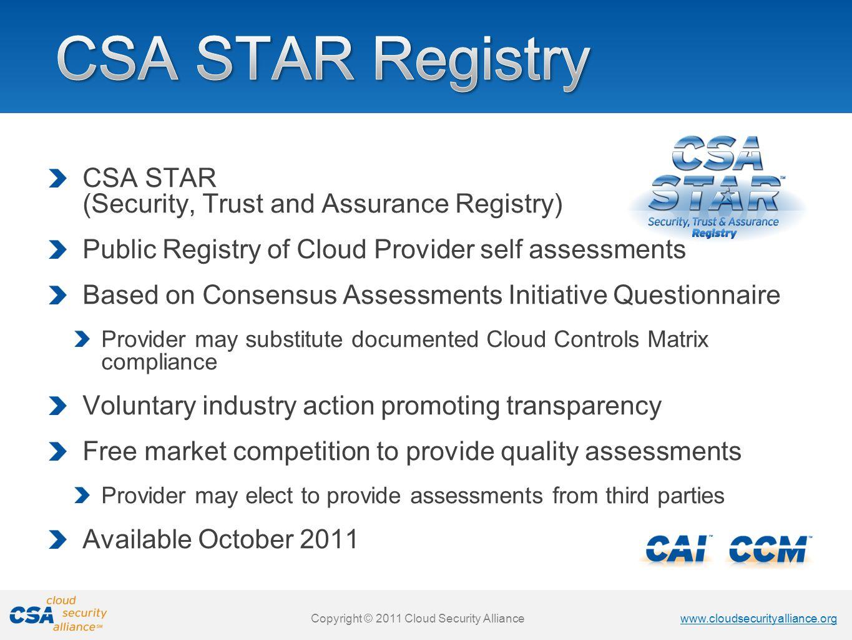 CSA STAR Registry CSA STAR (Security, Trust and Assurance Registry)