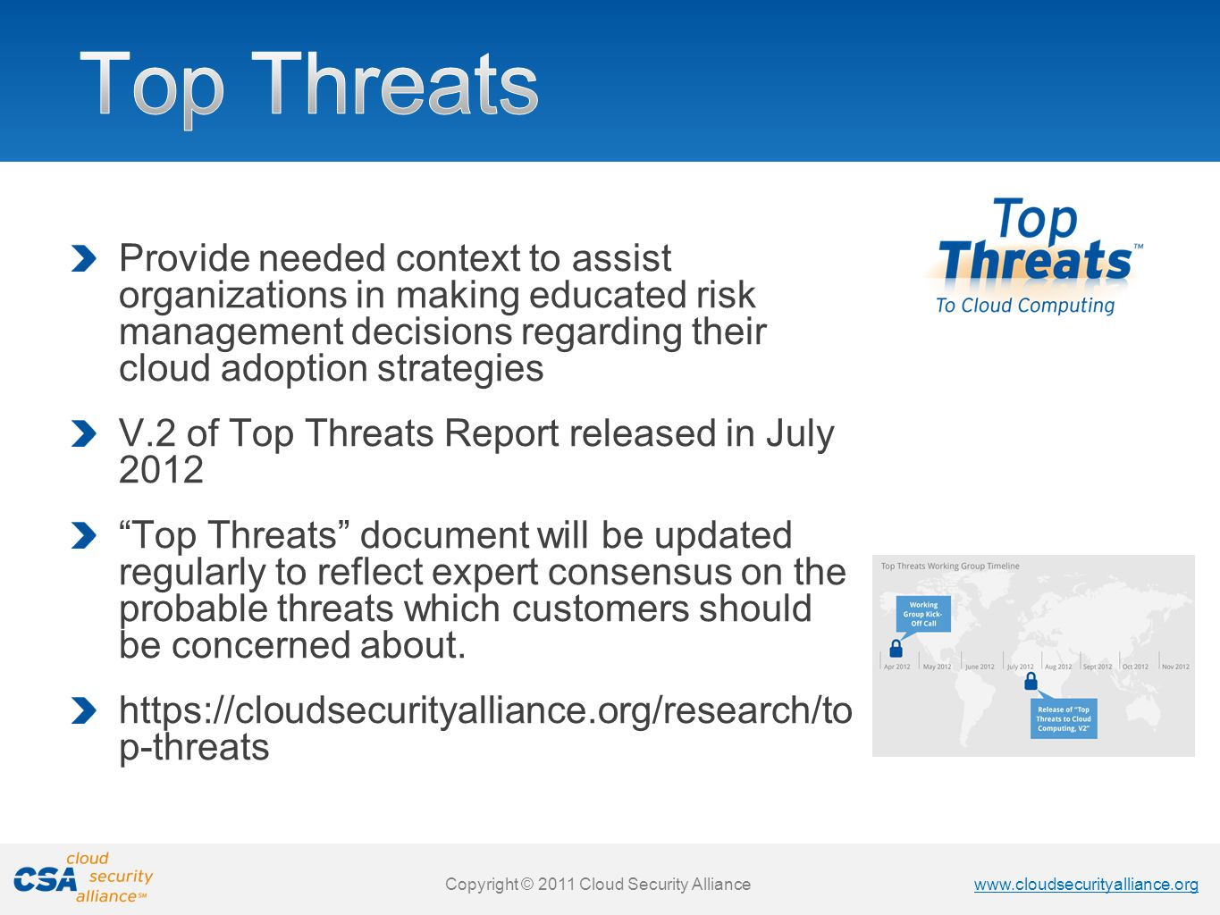 Top Threats Provide needed context to assist organizations in making educated risk management decisions regarding their cloud adoption strategies.