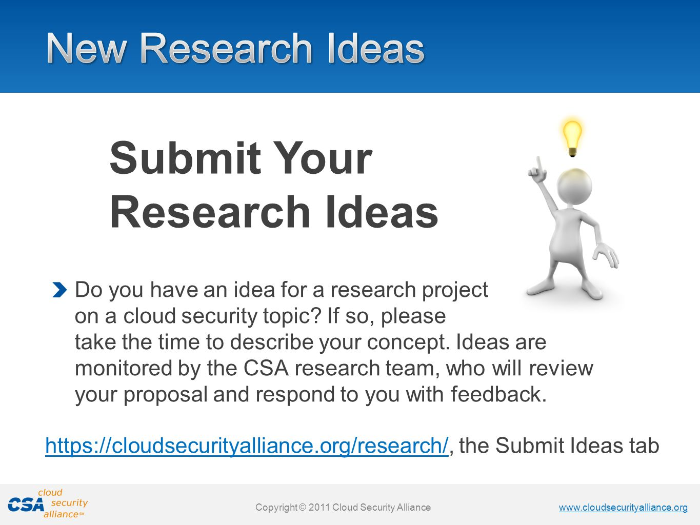 Submit Your Research Ideas
