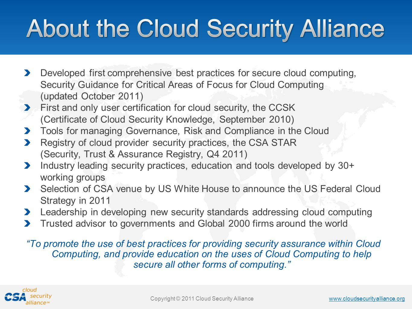 About the Cloud Security Alliance
