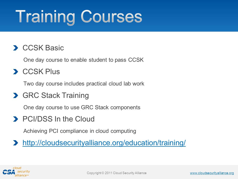 Training Courses CCSK Basic CCSK Plus GRC Stack Training