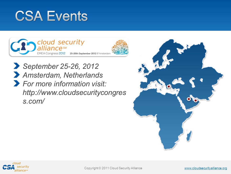 CSA Events September 25-26, 2012 Amsterdam, Netherlands