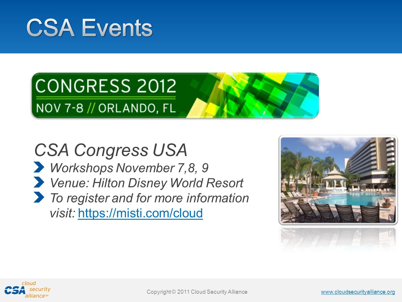 CSA Events CSA Congress USA Workshops November 7,8, 9