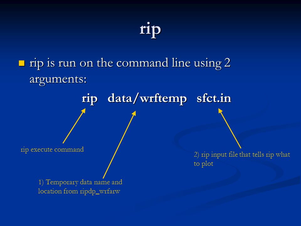 rip rip is run on the command line using 2 arguments: