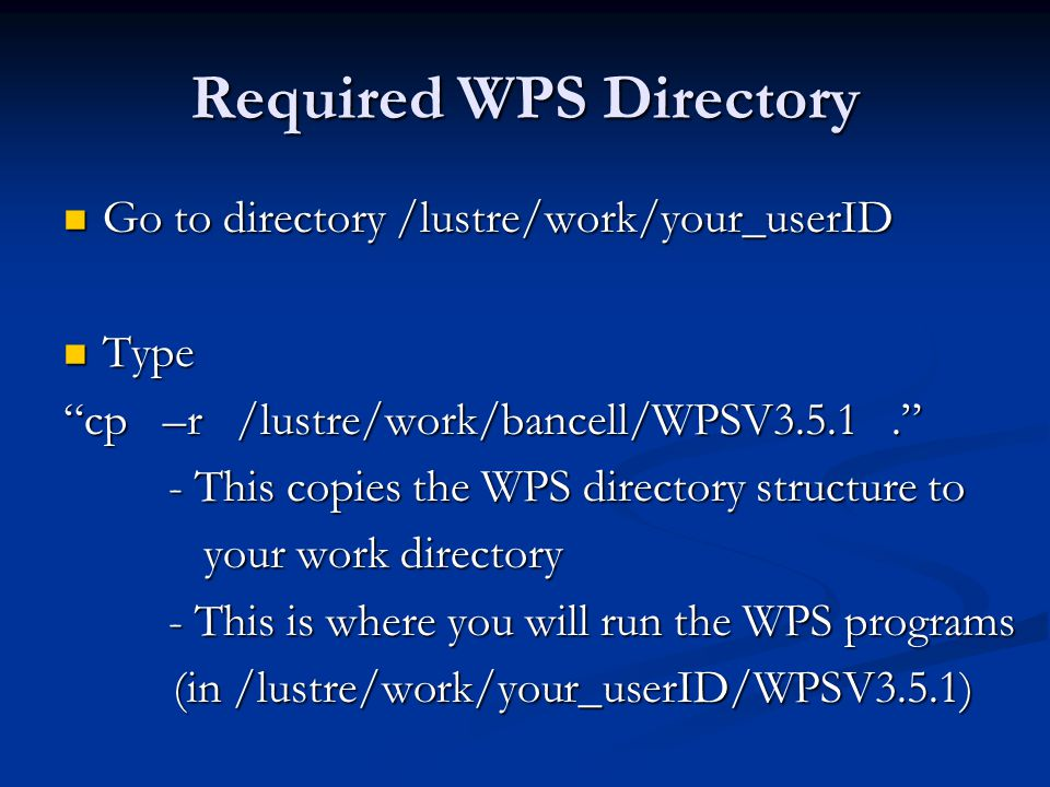 Required WPS Directory