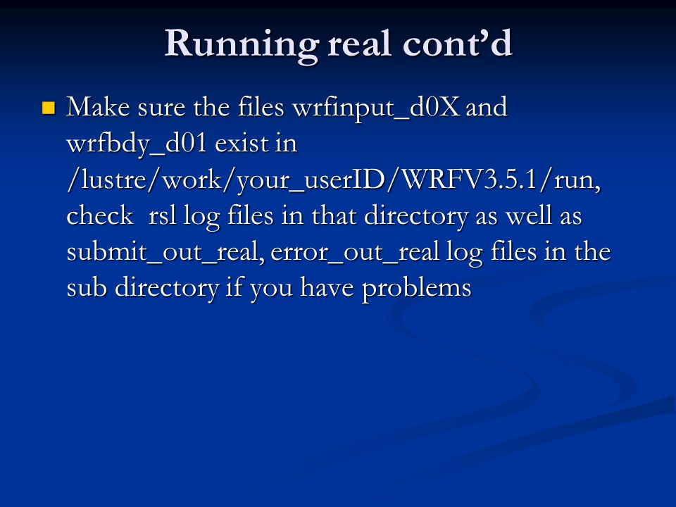 Running real cont'd