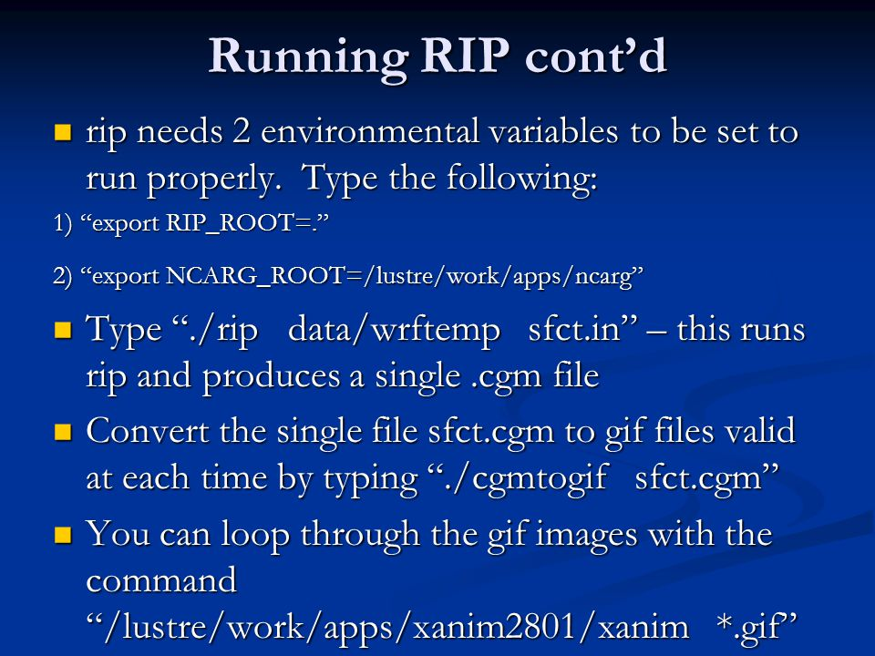 Running RIP cont'd rip needs 2 environmental variables to be set to run properly. Type the following:
