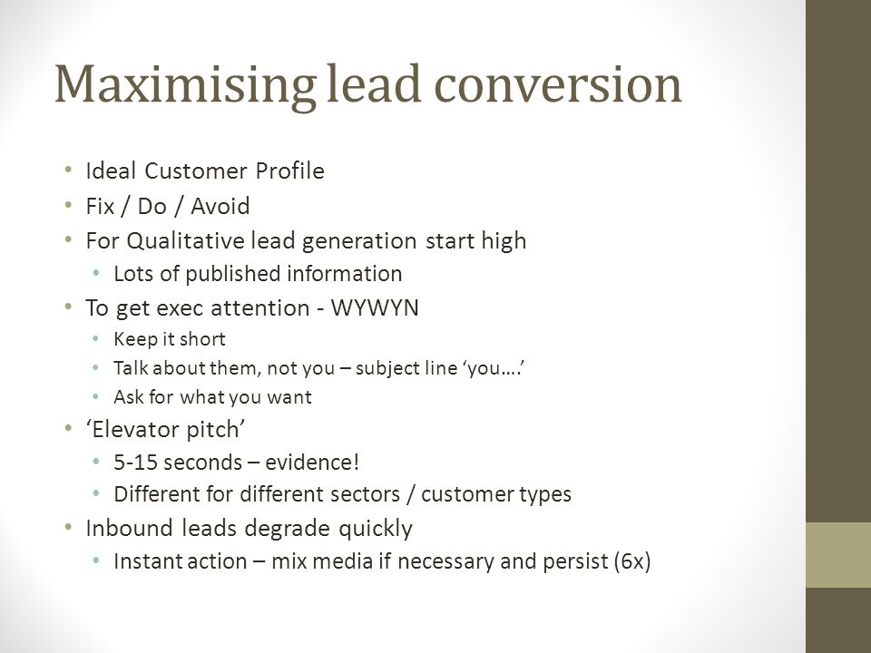 Maximising lead conversion
