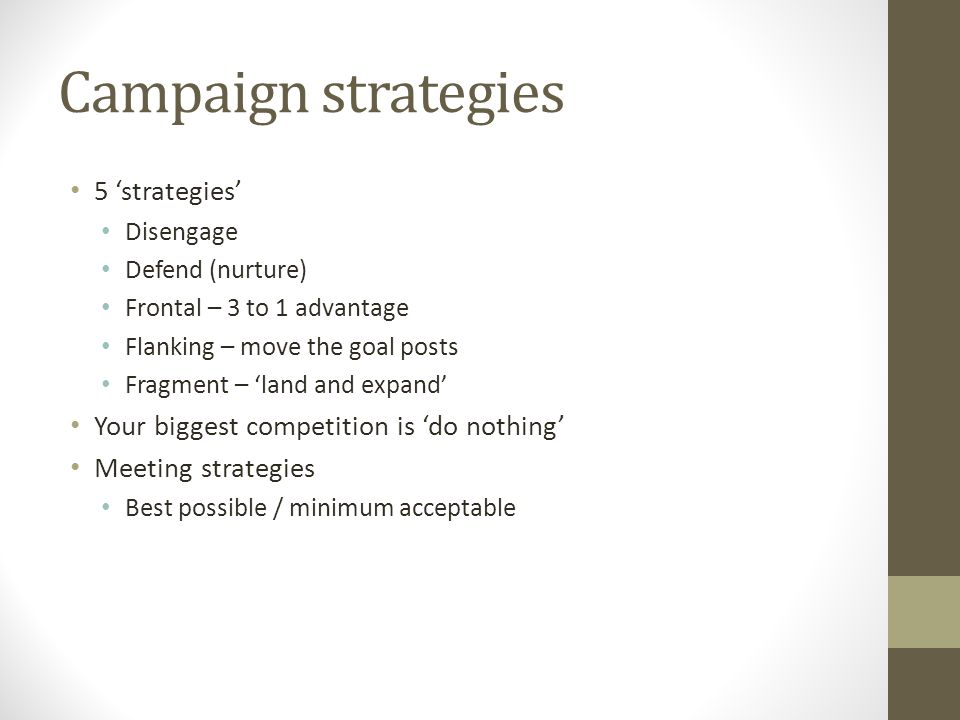Campaign strategies 5 'strategies'