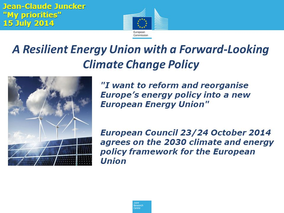 A Resilient Energy Union with a Forward-Looking Climate Change Policy