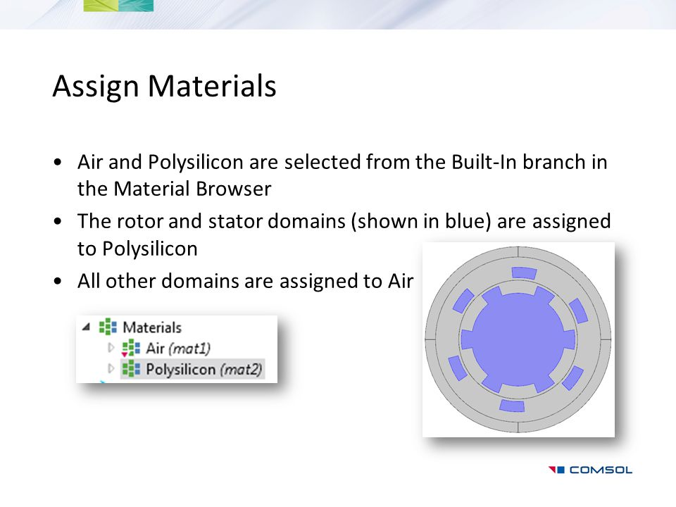 Assign Materials Air and Polysilicon are selected from the Built-In branch in the Material Browser.