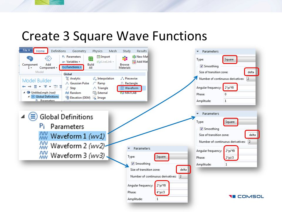 Create 3 Square Wave Functions