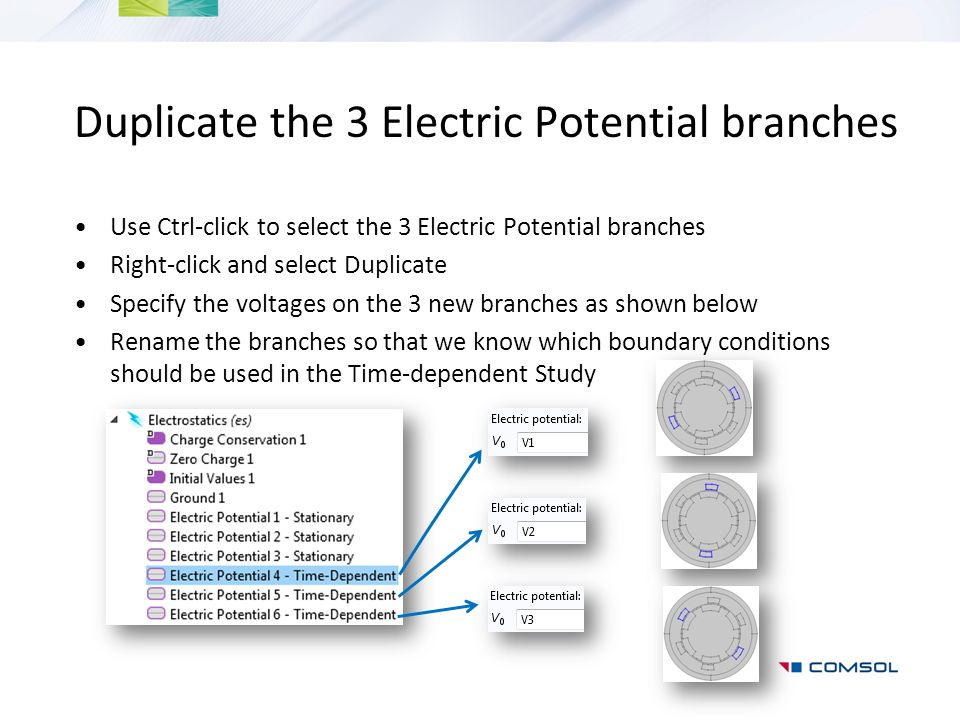 Duplicate the 3 Electric Potential branches