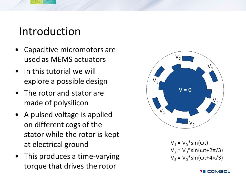 Introduction Capacitive micromotors are used as MEMS actuators