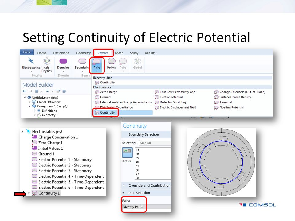 Setting Continuity of Electric Potential