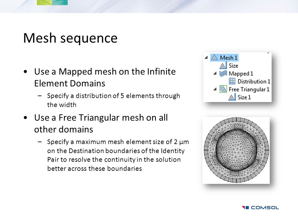 Mesh sequence Use a Mapped mesh on the Infinite Element Domains