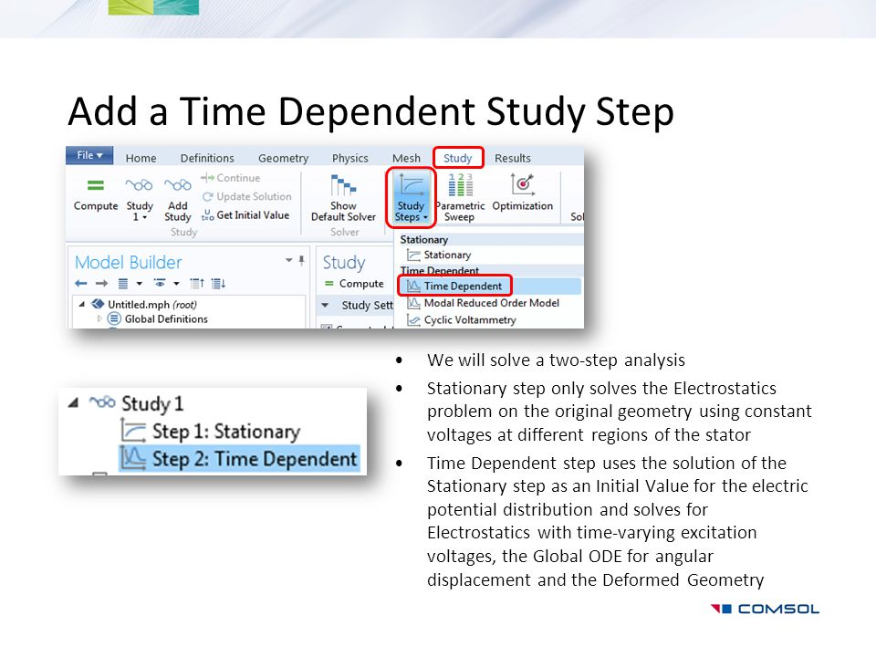 Add a Time Dependent Study Step