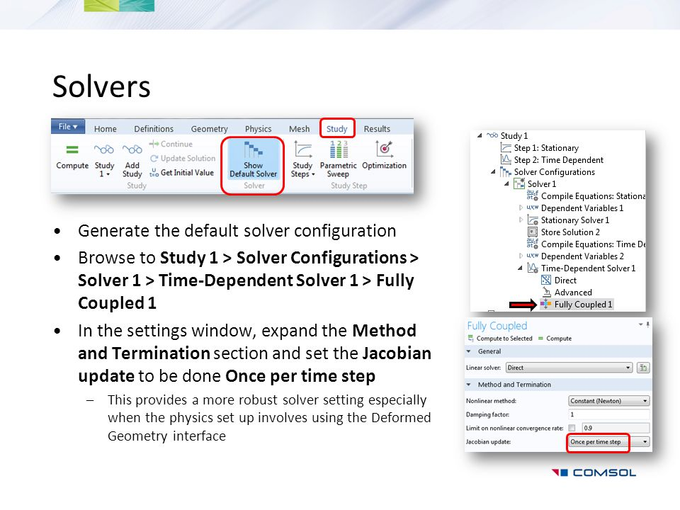 Solvers Generate the default solver configuration