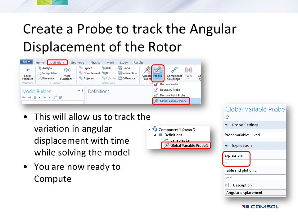 Create a Probe to track the Angular Displacement of the Rotor