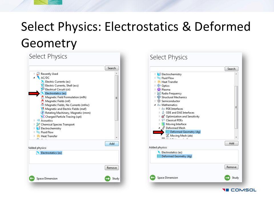 Select Physics: Electrostatics & Deformed Geometry
