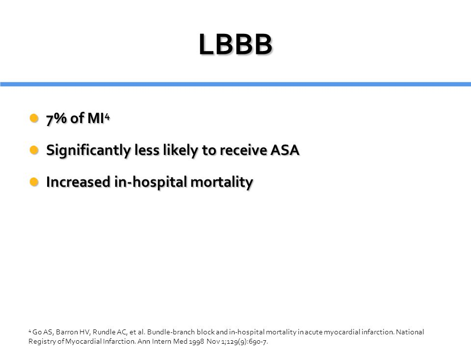 LBBB 7% of MI4 Significantly less likely to receive ASA