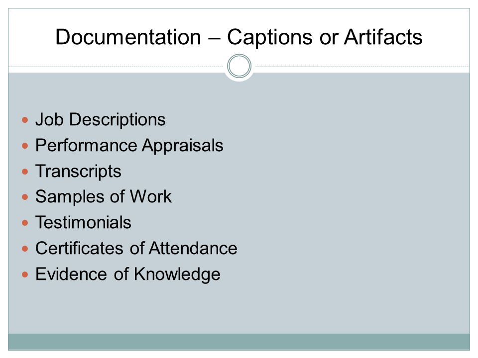 Documentation – Captions or Artifacts