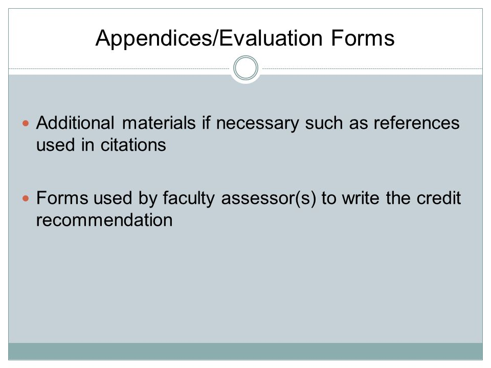 Appendices/Evaluation Forms