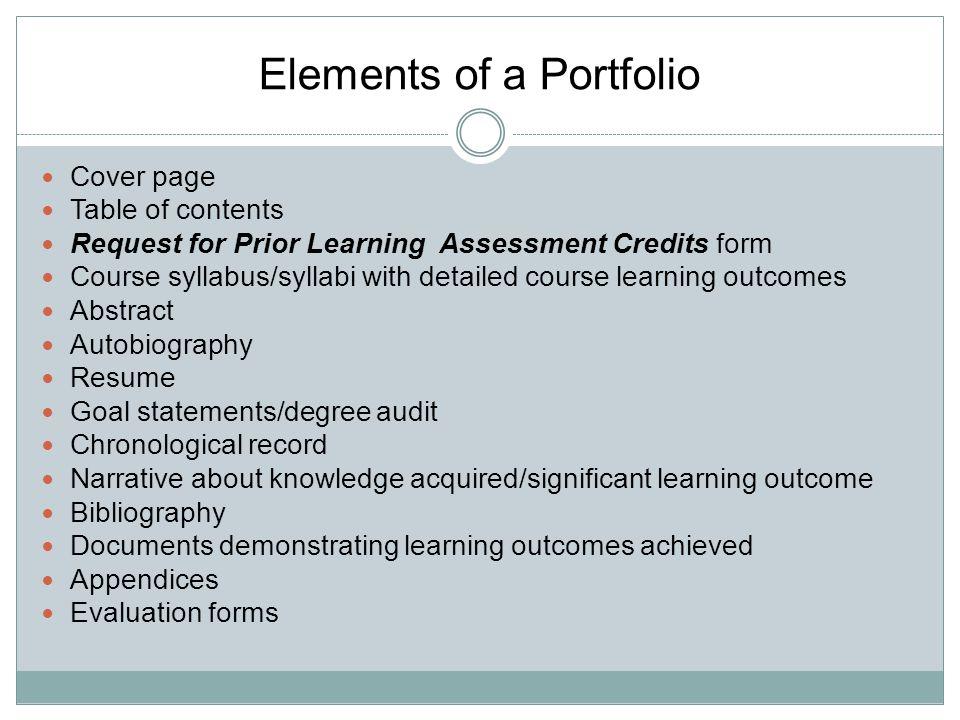Elements of a Portfolio