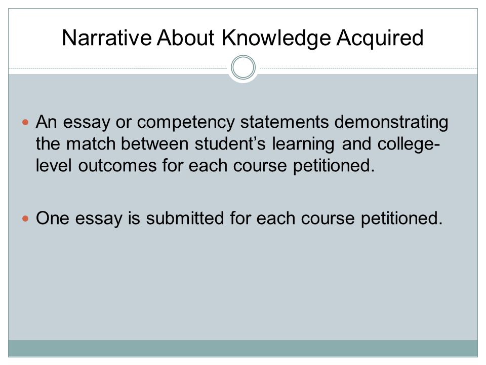 Narrative About Knowledge Acquired